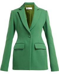 Marina Moscone Blazer en sergé à boutonnage simple et basque - Vert