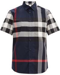 Burberry サマートン チェック コットンシャツ - ブルー