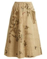 By Walid - Hazy-jungle Print Cotton-canvas Skirt - Lyst
