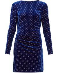 Dundas ドレープバック クリスタル ベルベットミニドレス - ブルー