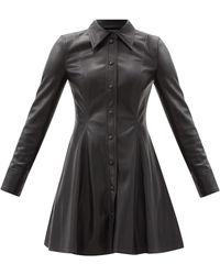 Stand Studio ナラ フェイクレザー ミニシャツドレス - ブラック
