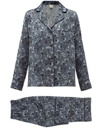 Morpho + Luna Colette Mirage Print Silk Charmeuse Pajamas - Blue