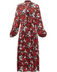 N°21 ボウタイ フローラルクレープドレス - レッド