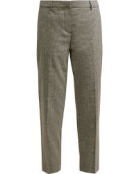 Burberry - Checked Cropped Wool Blend Trousers - Lyst
