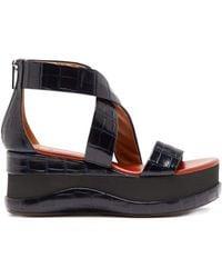 Chloé - Crocodile Embossed Leather Flatform Sandals - Lyst