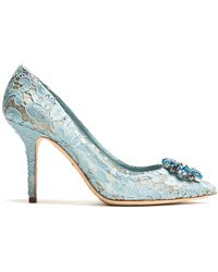 Dolce & Gabbana - Belluci Crystal-embellished Lace Pumps - Lyst