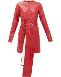 MSGM フェイクレザー ドレス - レッド