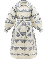 Sea Gloucester Patchwork-gingham Quilted Cotton Coat - Blue