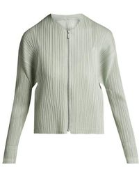Pleats Please Issey Miyake - - Collarless Pleated Jacket - Womens - Silver - Lyst