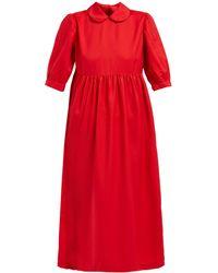 Comme des Garçons Peter Pan Collar Twill Midi Dress - Red
