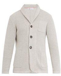 Brunello Cucinelli - Shawl-collar Ribbed-knit Cotton Cardigan - Lyst