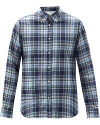 Officine Generale Antime Checked Cotton-twill Shirt - Blue