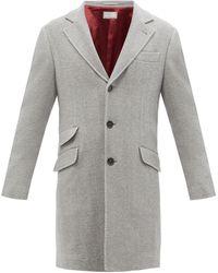 Brunello Cucinelli - Single-breasted Wool And Cashmere Herringbone Coat - Lyst