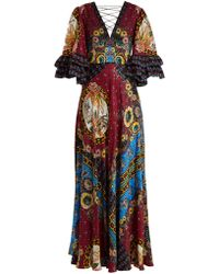 Etro - Jungle Print V Neck Silk Satin Gown - Lyst