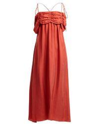 Isa Arfen - Ruched-detail Square-neck Silk Dress - Lyst