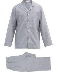 Emma Willis Zephirlino Striped Cotton Pajamas - Blue