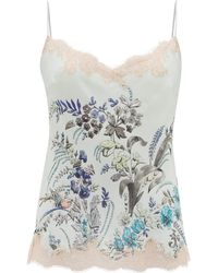 Carine Gilson Lace-trimmed Floral-print Silk Camisole - Multicolour