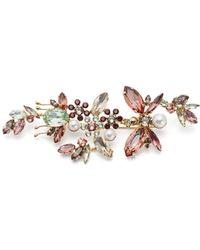 Erdem Crystal Embellished Floral Brooch - Pink