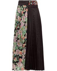 Junya Watanabe Floral Print Crepe And Satin Pleated Skirt - Black