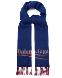 Balenciaga Logo Jacquard Wool Blend Scarf - Red