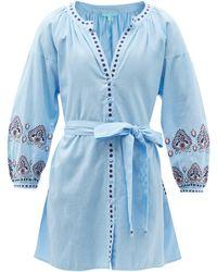 Melissa Odabash タニア エンブロイダリー コットンブレンドシャツドレス - ブルー