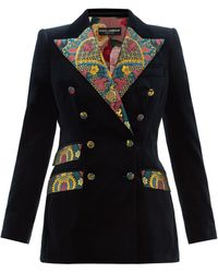 Dolce & Gabbana Double-breasted Floral Brocade And Velvet Blazer - Blue