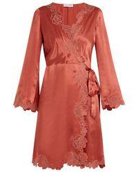 Carine Gilson - - Lace Trimmed Silk Satin Robe - Womens - Dark Pink - Lyst