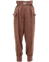 Miu Miu Prince Of Wales-checked Wool-blend Trousers - Brown