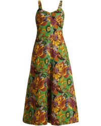 Duro Olowu Floral Print V Neck Textured Cloqué Dress - Green