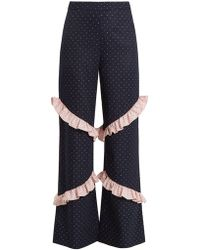 Huishan Zhang - Elisa High Rise Ruffle Trimmed Trousers - Lyst