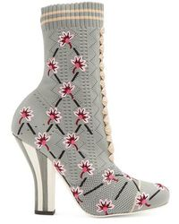 Fendi - Floral-embroidered Striped-heel Sock Boots - Lyst