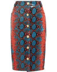 Versace - Python Effect Leather Pencil Skirt - Lyst