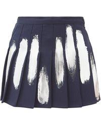 Germanier Hand-painted Pleated Mini Skirt - Blue