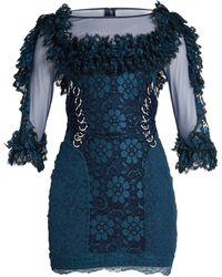 Christopher Kane Contrast-panel Ring-embellished Lace Mini Dress - Blue