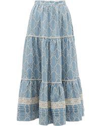 Gucci Gg Cotton Chambray Lace Maxi Skirt - Blue