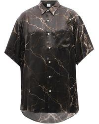 Vetements ライトニング サテンツイルシャツ - ブラック