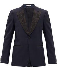 Alexander McQueen Silk-trimmed Wool And Mohair-blend Tuxedo Jacket - Blue