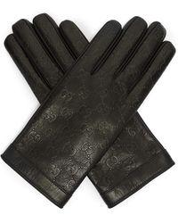 Gucci Gants en cuir à logo estampé - Noir
