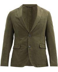 Officine Generale Officine Générale コットンリネンツイル シングルスーツジャケット - グリーン