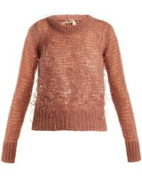 N°21 - Ostrich-feather Embellished Mohair-blend Jumper - Lyst