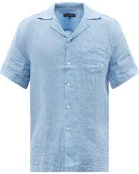 Frescobol Carioca キューバンカラー リネンシャツ - ブルー