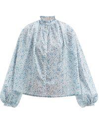 Thierry Colson Slava Gathered Floral-print Cotton-poplin Blouse - Blue