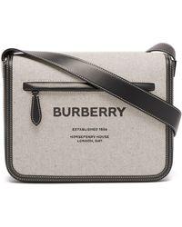 Burberry オリンピア キャンバス&レザーバッグ - ブラック