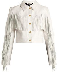 Diane von Furstenberg - Cropped Fringed Leather Biker Jacket - Lyst