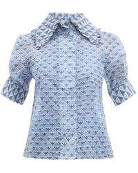 Thierry Colson Tilda Geometric-print Cotton-blend Blouse - Blue