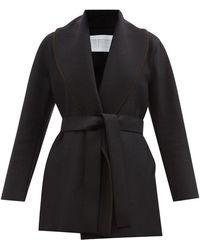 Harris Wharf London ベルテッド ショールカラー プレスウールジャケット - ブラック