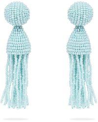 Oscar de la Renta - Bead Embellished Tassel Drop Earrings - Lyst