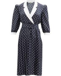 Rodarte ポルカドット シルクツイルドレス - ブルー