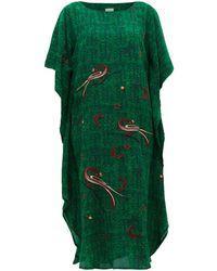 Chufy Kaf Peacock And Celestial-embroidered Kaftan Dress - Green