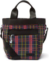 Ganni Tartan Recycled-shell Bucket Bag - Black